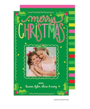 Holly & Stripes Holiday Photo Card