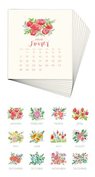 Floral Blooms 2018 Watercolor Desk Calendar Refill