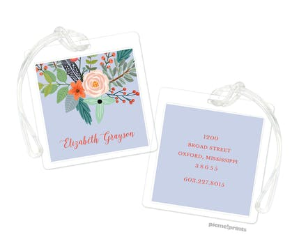 Feather & Flower Lavender ID Tag