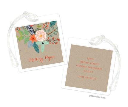 Feather & Flower Kraft ID Tag