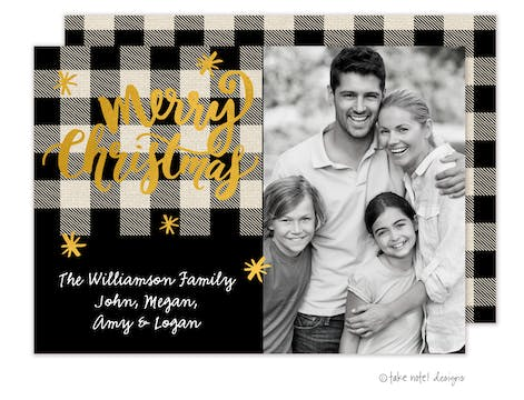 Buffalo Plaid Foil Pressed Holiday Photo Card