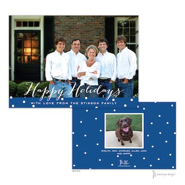 Dotted Band Dark Blue Flat Holiday Photo Card