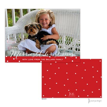 Dotted Band Red Flat Holiday Photo Card