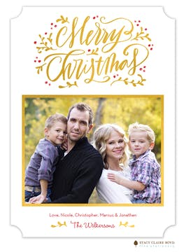 Scripted Season Foil Pressed Holiday Photo Card