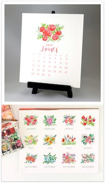 Floral Blooms  2018 Watercolor Desk Calendar & Easel