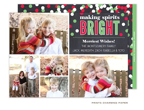 Christmas Confetti Collage Flat Photo Card
