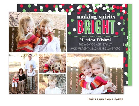 Christmas Confetti Collage Flat Photo Card