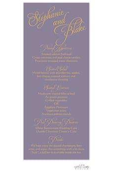 Lavender Calligraphic Names Menu