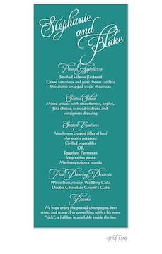 Teal Calligraphic Names Menu
