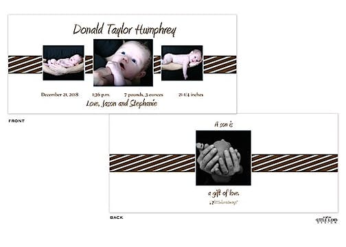 Rectangular Photo Birth Announcement with brown and blue accents.