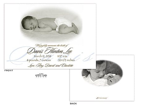 Blue Name Boy Photo Birth Announcement