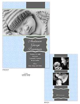 Elegant Blue Boy Photo Birth Announcement