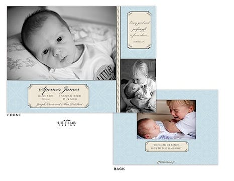 Light Blue Boy Photo Birth Announcement