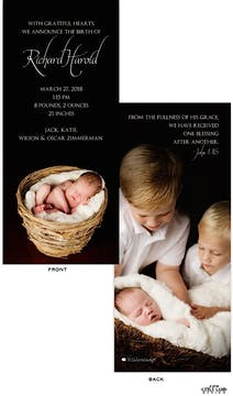 Full Bleed - Front and Back Boy Photo Birth Announcement