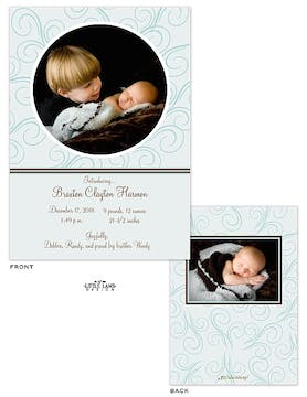 Blue Swirls Boy Photo Birth Announcement