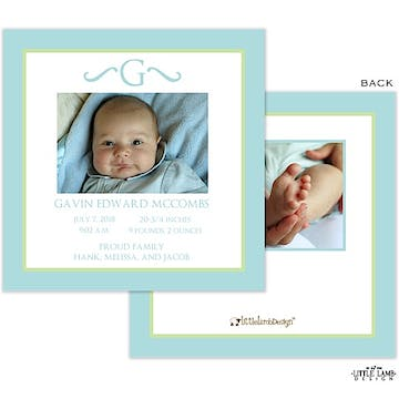 Elegant Green and Blue Border Photo Square Birth Announcement