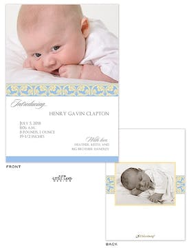 Elegant Blue Scrollwork Photo Birth Announcement