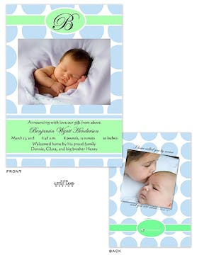 Big Blue Dots Photo Birth Announcement