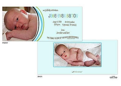 Blue Curved Bands Photo Birth Announcement