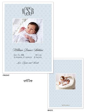 Monogram Boy Photo Birth Announcement