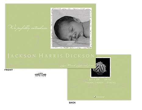 Sage green Boy Photo Birth Announcement