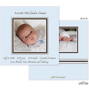 Blue Frame Boy Photo Square Birth Announcement