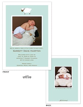 Boy Lamb Boy Photo Birth Announcement