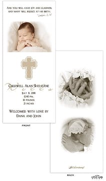 Taupe Cross Boy Photo Birth Announcement