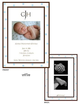 Blue Dot Border Boy Photo Birth Announcement