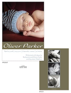 Boy Photo Birth Announcement with olive green stripe