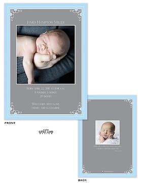 Delicate Framed Boy Photo Birth Announcement