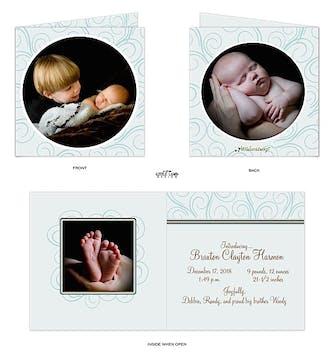 Elegant Swirls 5x5 Boy Photo Square Birth Announcement