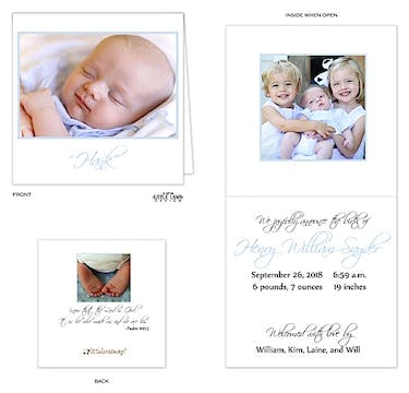 5x5 Boy Photo Square Birth Announcement