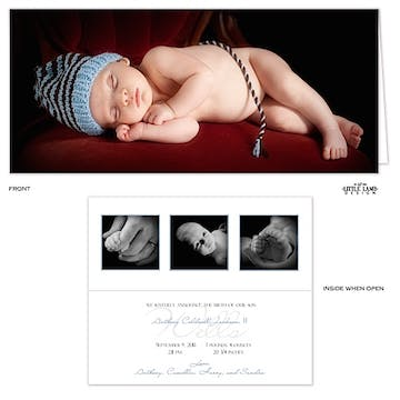 4x9 Boy Photo Birth Announcement