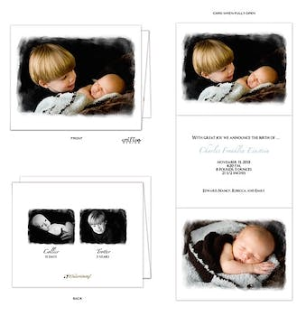 4x5 Vertical Tri-fold Boy Photo Birth Announcement
