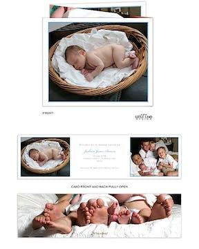 Tri-fold photo birth Boy Photo Birth Announcement