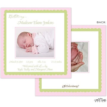 pink and lime green Girl Photo Square Birth Announcement