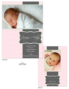 Elegant Pink Girl Photo Birth Announcement