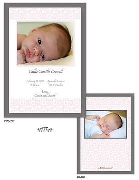 Elegant Pink Girl Photo Birth Announcement