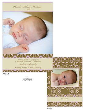 Girl Photo Birth Announcement with brown and bright pink pattern