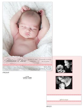 Pink Band Girl Photo Birth Announcement
