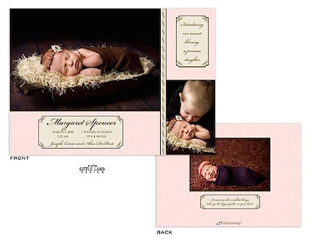 Girl Photo Birth Announcement with soft pattern