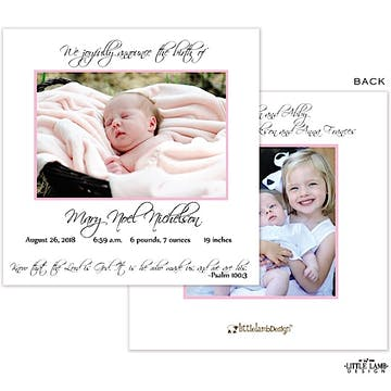 Girl Photo Square Birth Announcement
