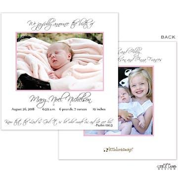 Girl Photo Square Birth Announcement