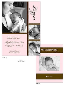 Girl Photo Birth Announcement with pink and brown accents