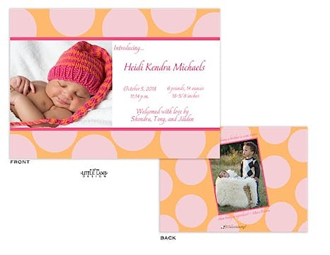 Big Pink Dots Girl Photo Birth Announcement