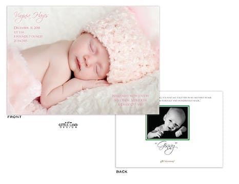 Full bleed horizontal Girl Photo Birth Announcement with 1 photo on the back
