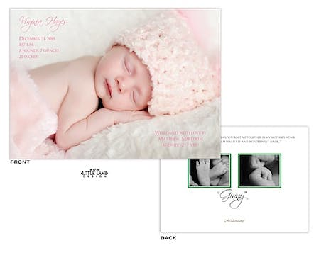 Full Bleed horizontal Girl Photo Birth Announcement with 2 photos on the back