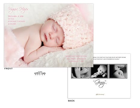 Full Bleed horizontal Girl Photo Birth Announcement with 3 photos on the back