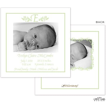 Elegant Green Border Girl Photo Square Birth Announcement